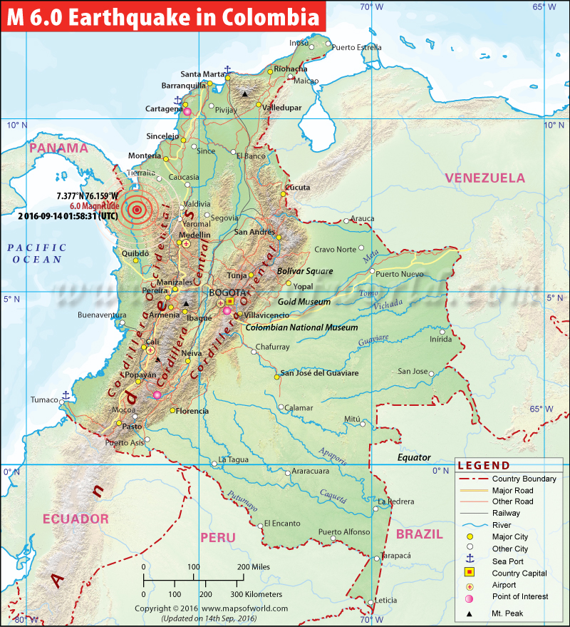 M 6.0 Earthquakes in Colombia - Map showing the location of all major earthquakes in Colombia.