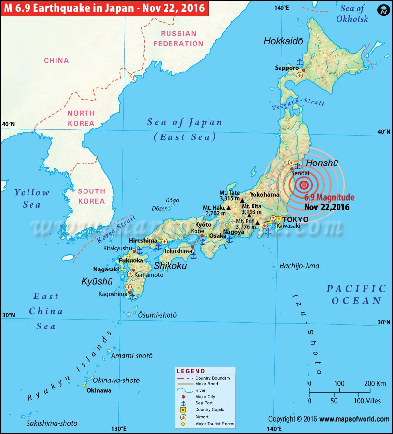 Japan Earthquakes Map Areas Affected By Earthquakes In Japan - Japan map 7