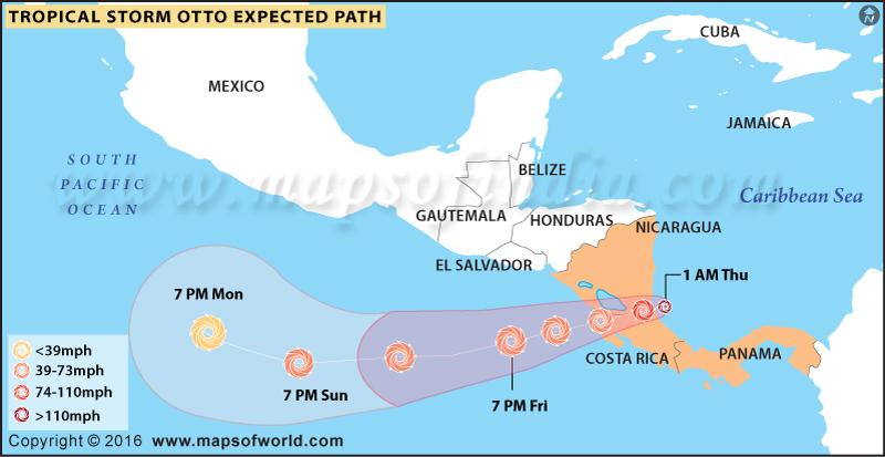 Hurricane Otto Path Map