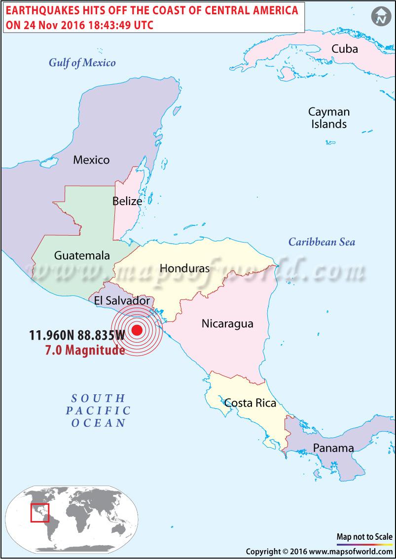El Salvador and Nicaragua Earthquake Map
