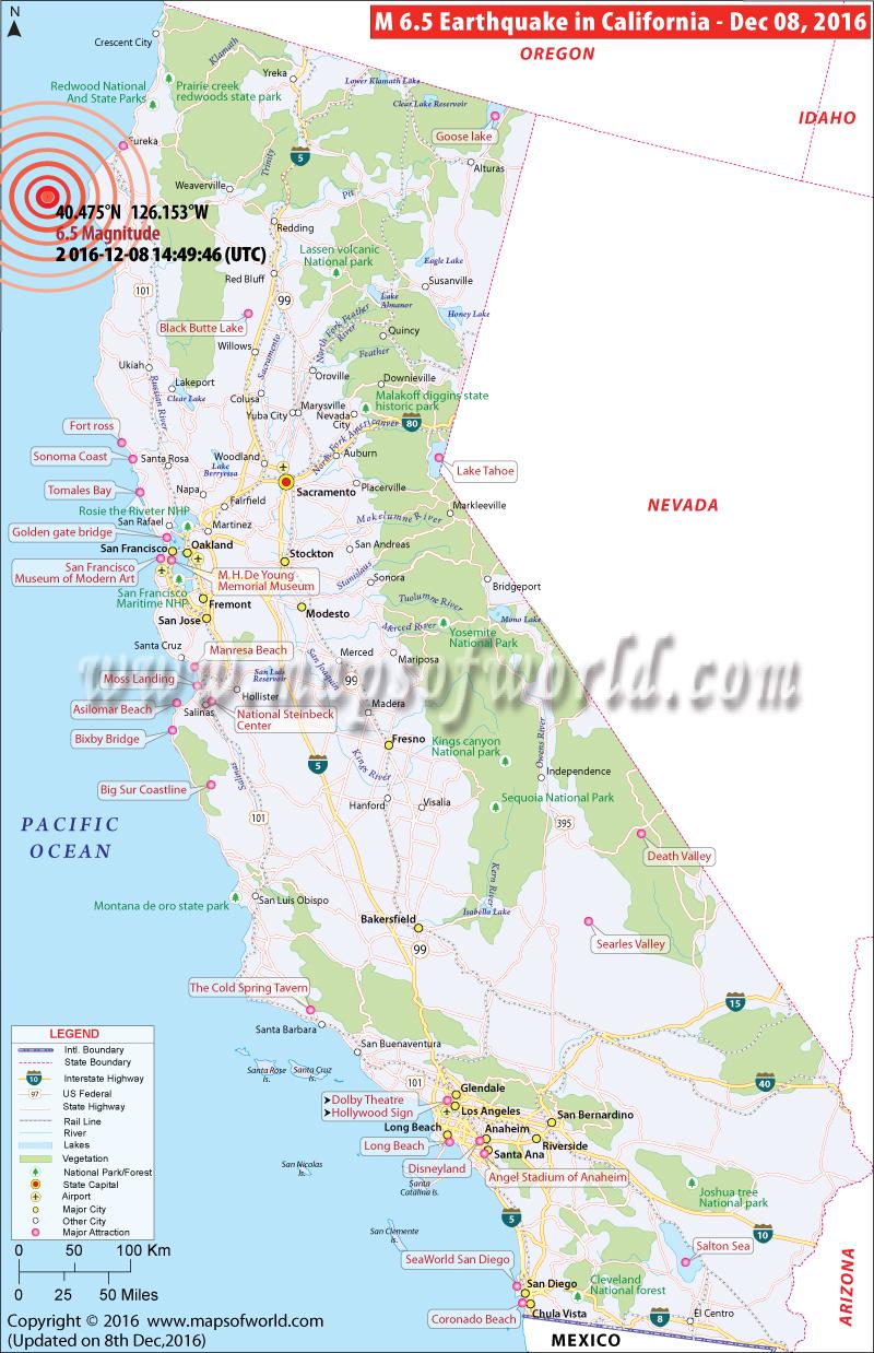 California Earthquake Map Area Affected By Earthquake In California