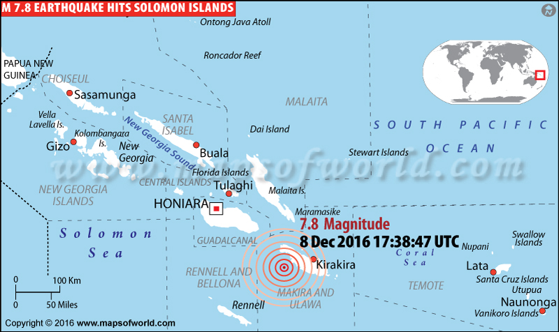 Solomon Islands Earthquake Map