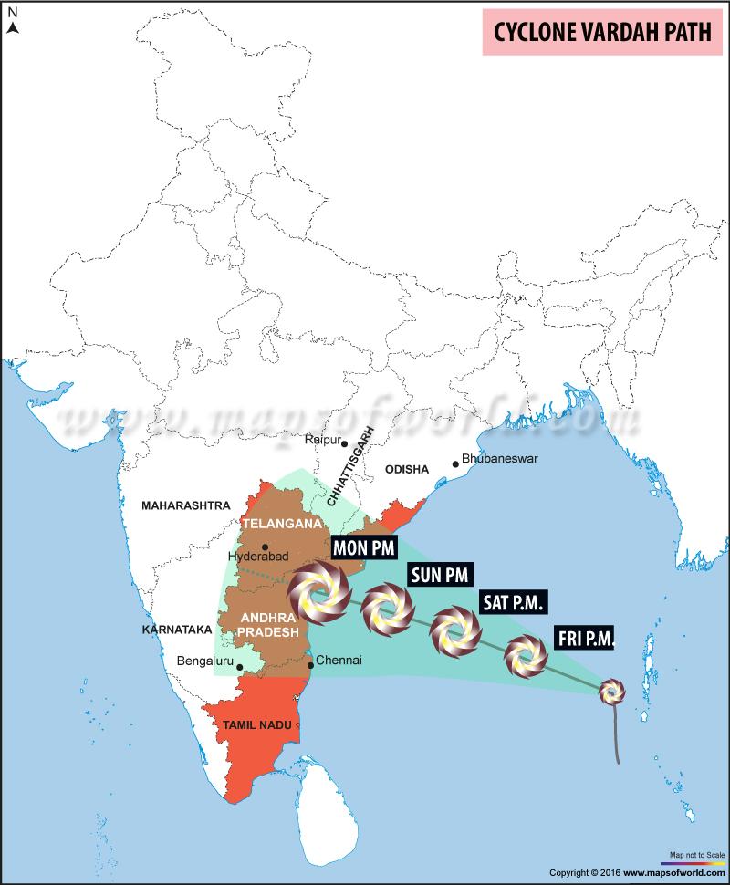 Cyclone Vardah Map