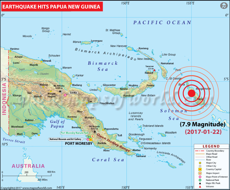 Papua New Guinea Earthquake map