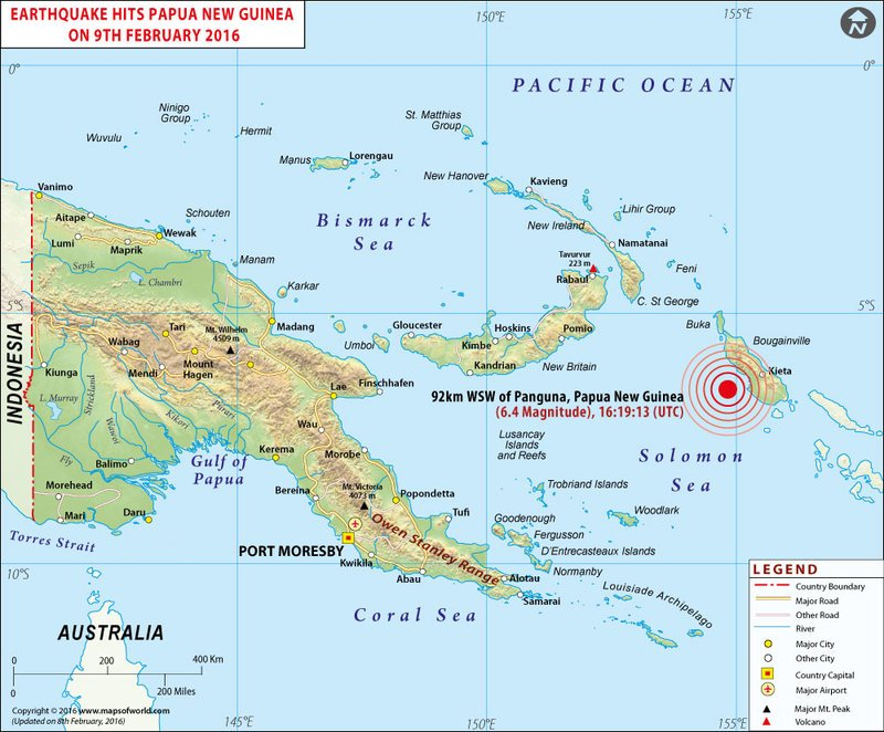 M6.4 earthquake strikes off Papua New Guinea