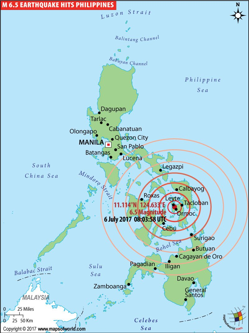 Map showing location of magnitude 6.9 earthquake struck southwest of the Philippine city of Tacloban.