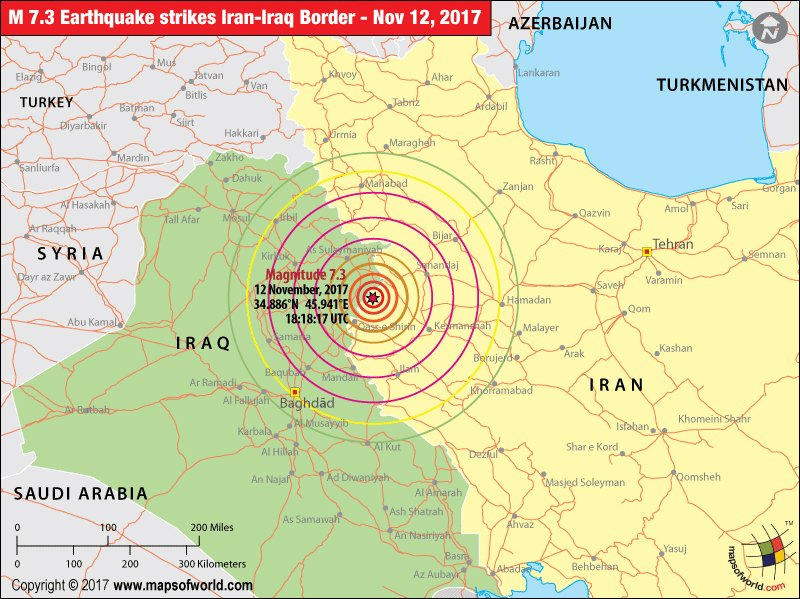 iran earthquake map