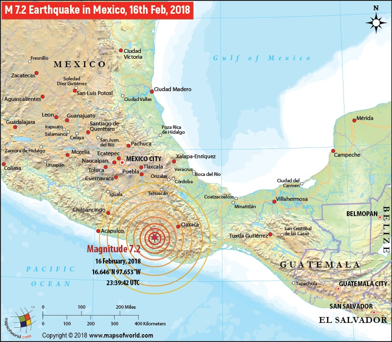 magnitude 72 earthquake in mexico 17 february 2018 map