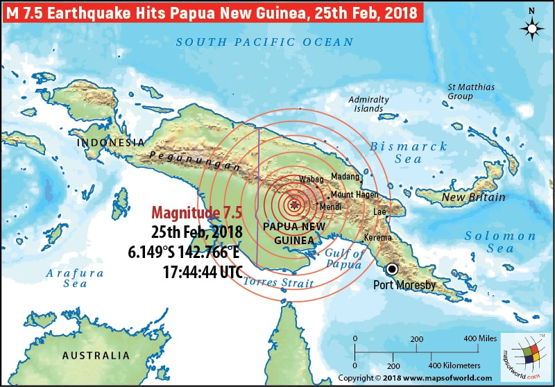 M7.5 earthquake in Papua New Guinea
