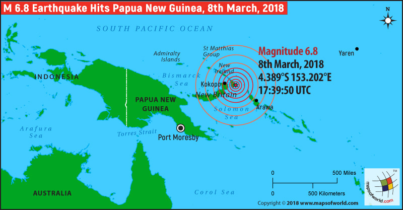 Papua New Guinea Earthquake Map, Area affected by Earthquake ...