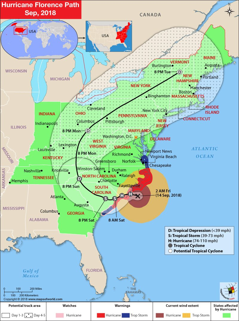 Hurricane Florence Path Map - September 14, 2018