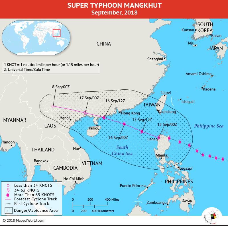 Typhoon Mangkhut Path Map