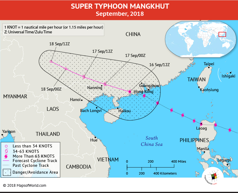 Typhoon Mangkhut Path Map - September 17, 2018