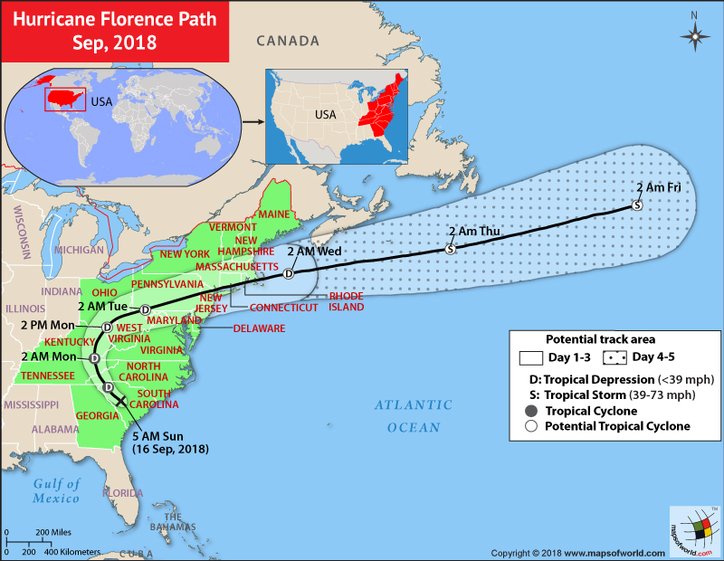 Hurricane Florence Path Map - Sep, 2018