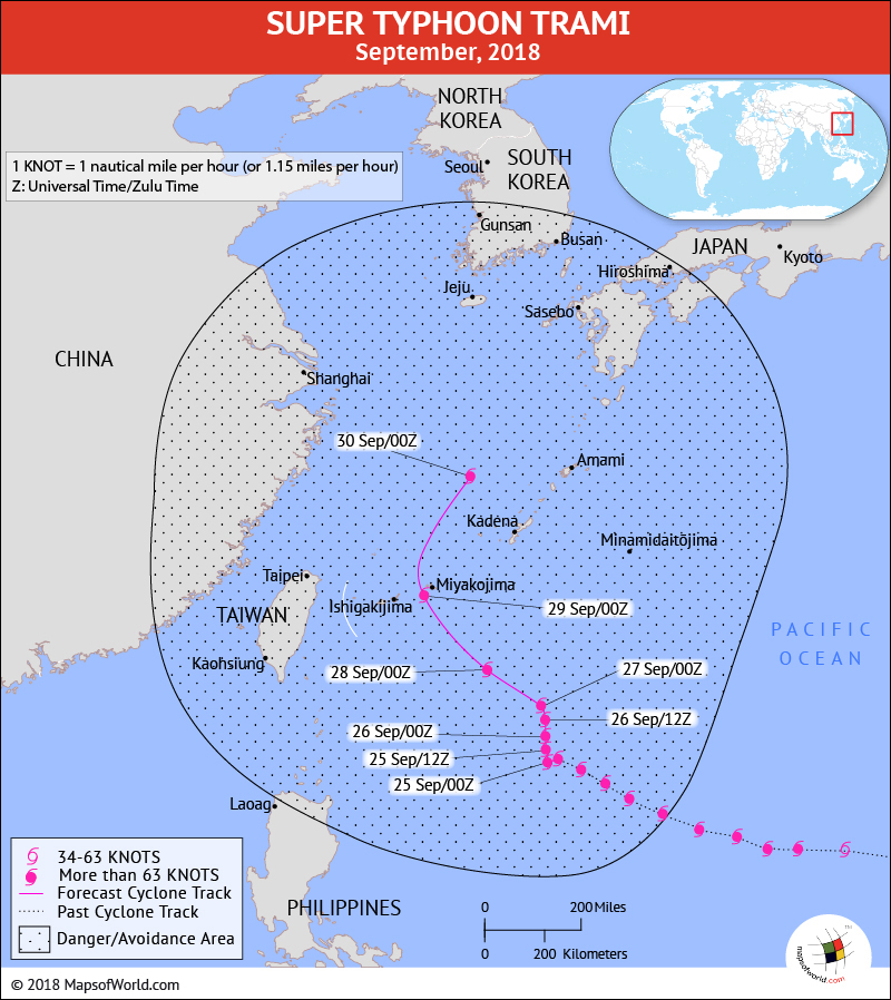 Typhoon Trami Path Map