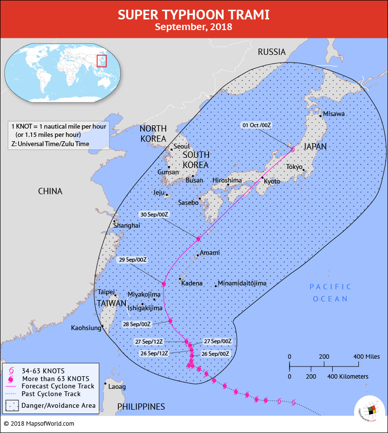 Map depicting Typhoon Trami path on September 26, 2018