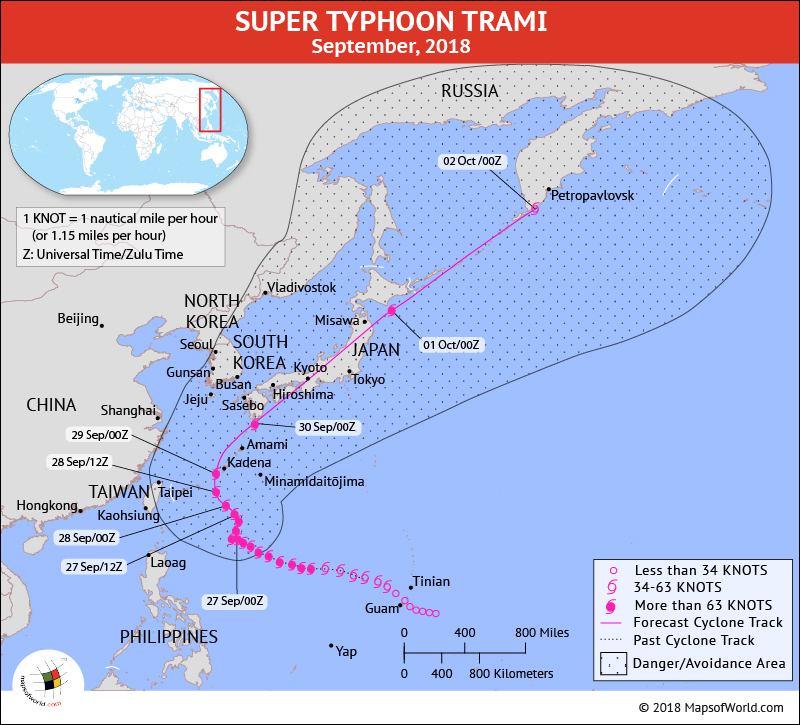 Typhoon Trami Path Mapon September 27, 2018
