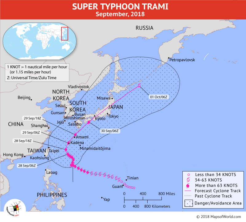 Typhoon Trami Path Mapon September 28, 2018