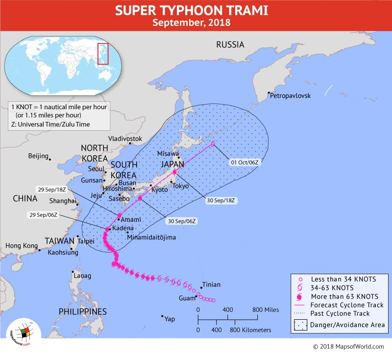 Typhoon Trami Path Mapon September 29, 2018