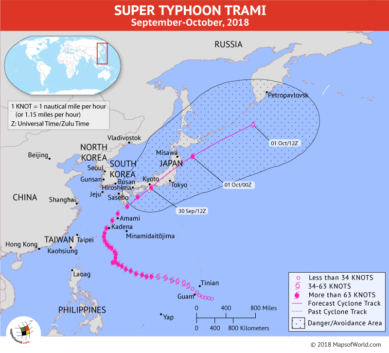 Typhoon Trami Path Mapon September 30, 2018