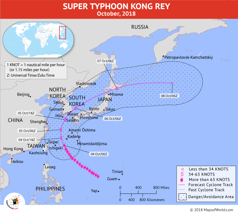 Super Typhoon Kong Rey Path Map