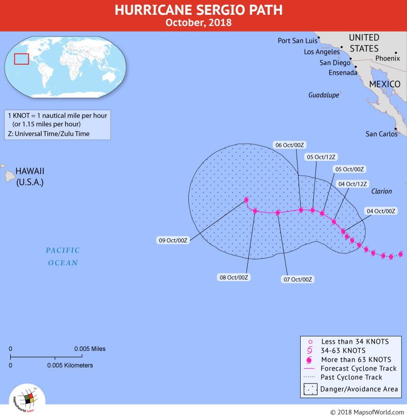 Hurricane Sergio Path Map - 4 October, 2018