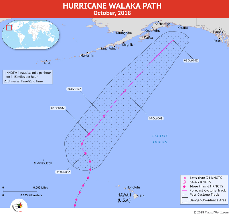 Hurricane Walaka Path Map - 5 October, 2018