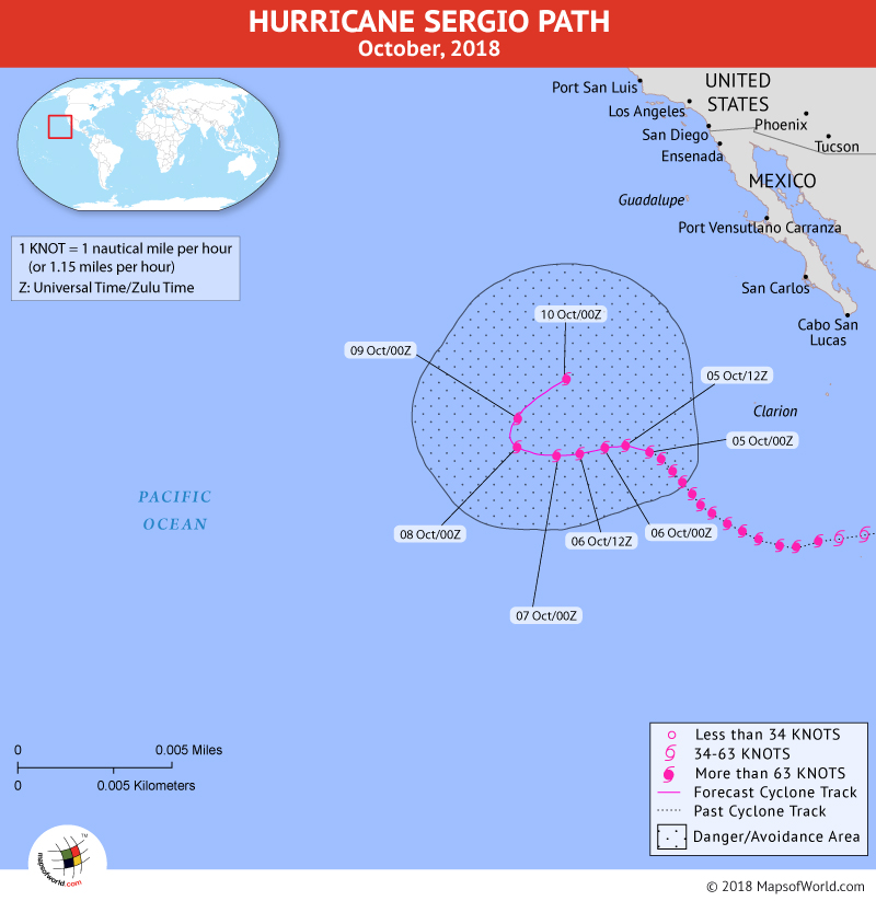 Hurricane Sergio Path Map - 5 October, 2018