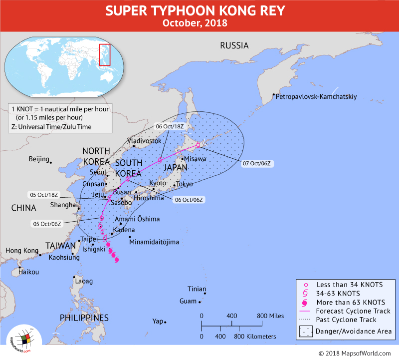 Super Typhoon Kong Rey Path Map on October 5, 2018