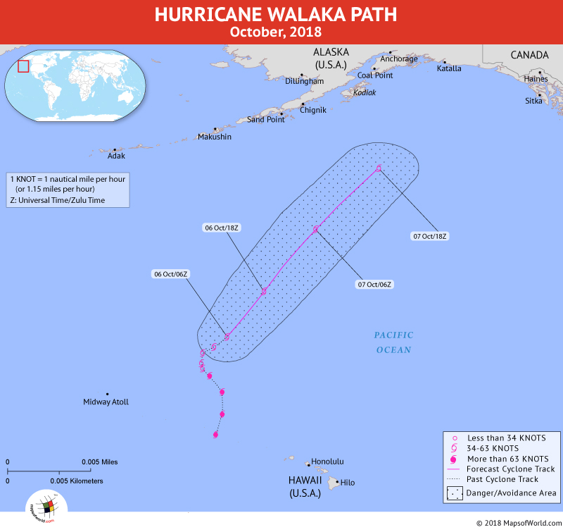 Hurricane Walaka Path Map - 6 October, 2018