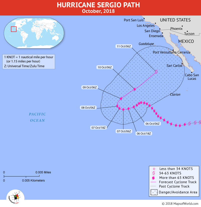Hurricane Sergio Path Map - 6 October, 2018