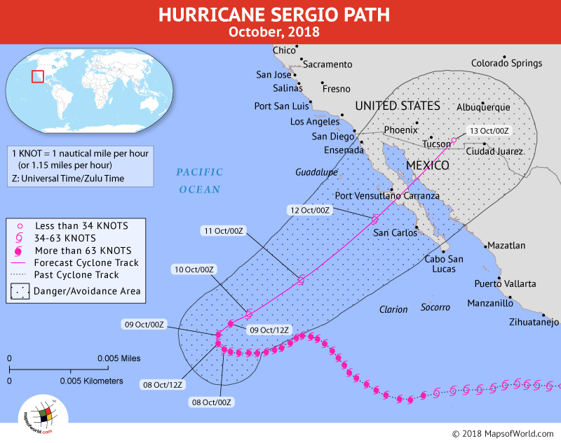 Hurricane Sergio Path Map - 8 October, 2018