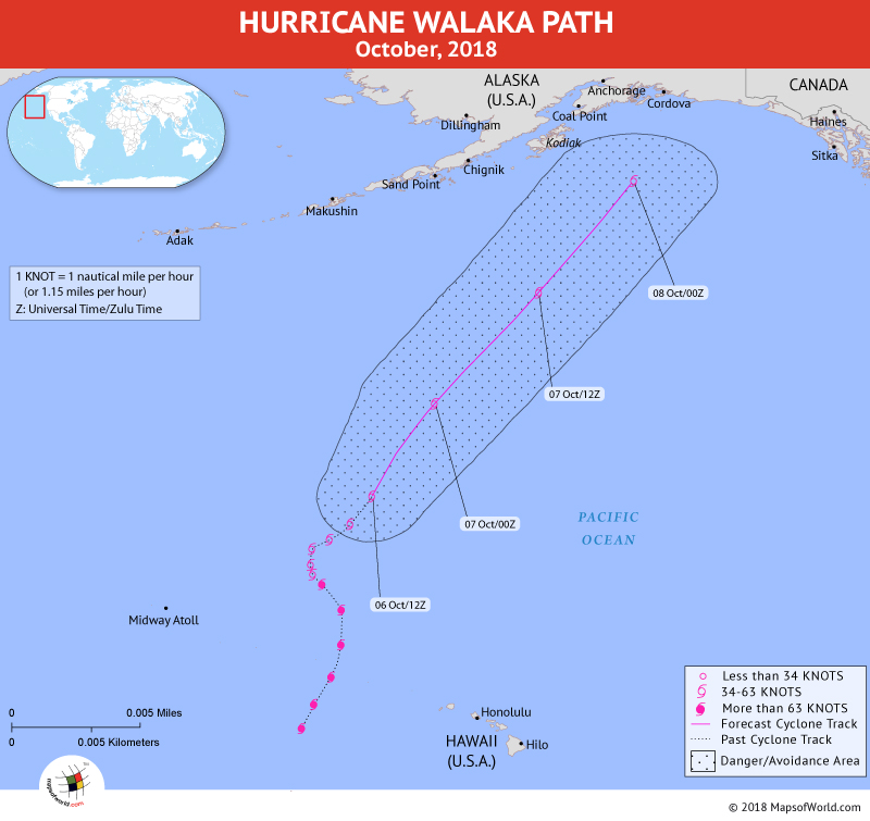 Hurricane Walaka Path Map - 9 October, 2018