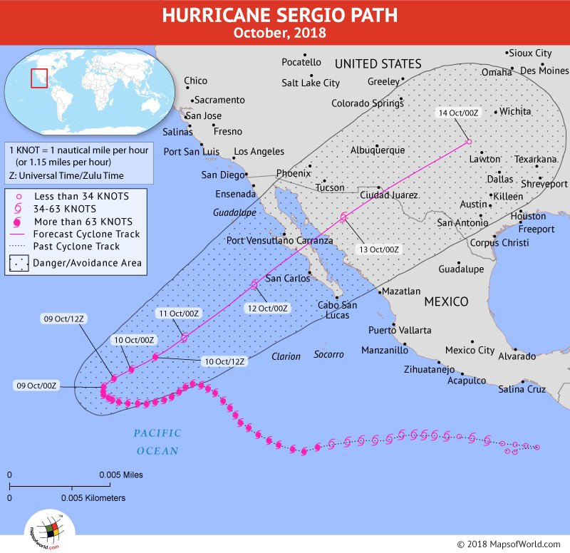 Hurricane Sergio Path Map - 9 October, 2018