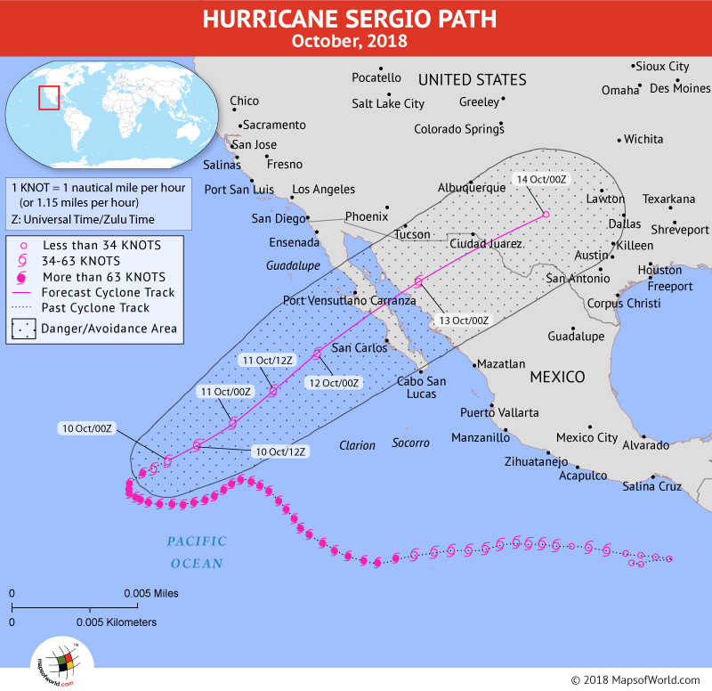 Hurricane Sergio Path Map
