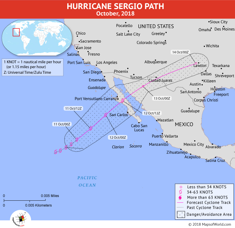 Hurricane Sergio Path Map - 11 October, 2018