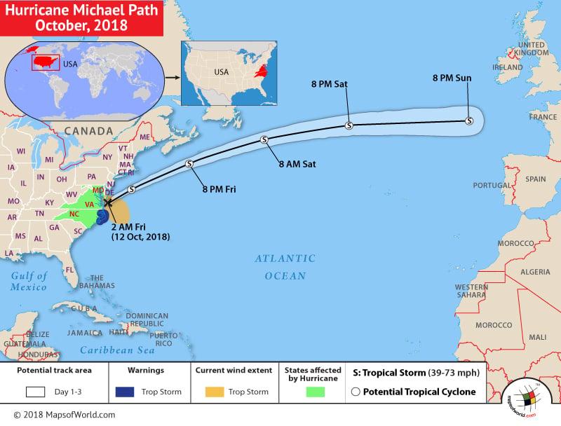 Hurricane Michael Path Map - Oct, 2018
