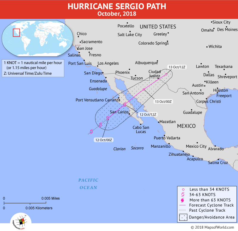 Hurricane Sergio Path Map - 12 October, 2018
