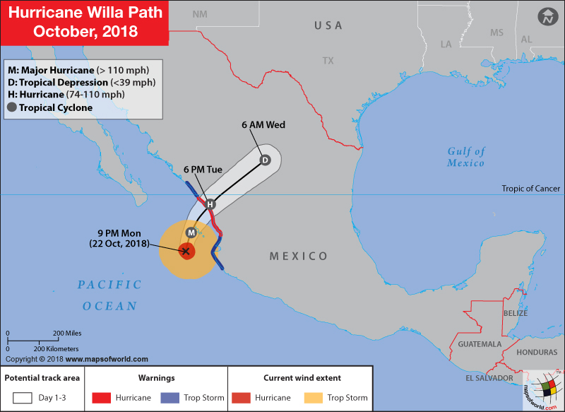 Hurricane Willa Path Map on October 23, 2018