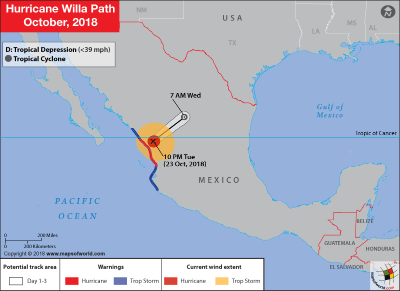 Hurricane Willa Path Map on October 24, 2018
