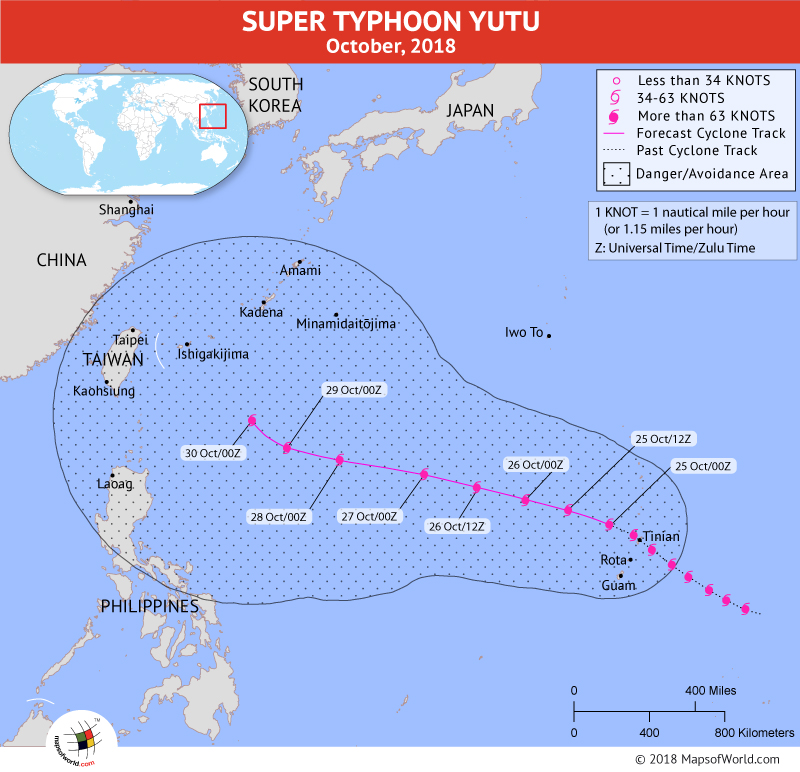 Super Typhoon Yutu Path Map on October 25, 2018