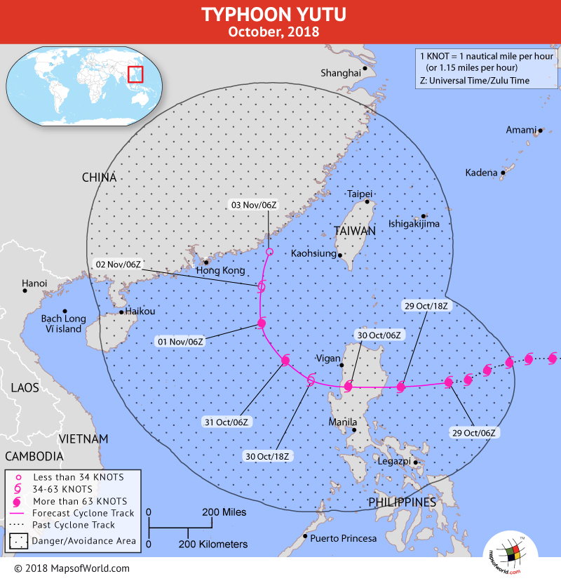 Typhoon Yutu Path Map on October 29, 201