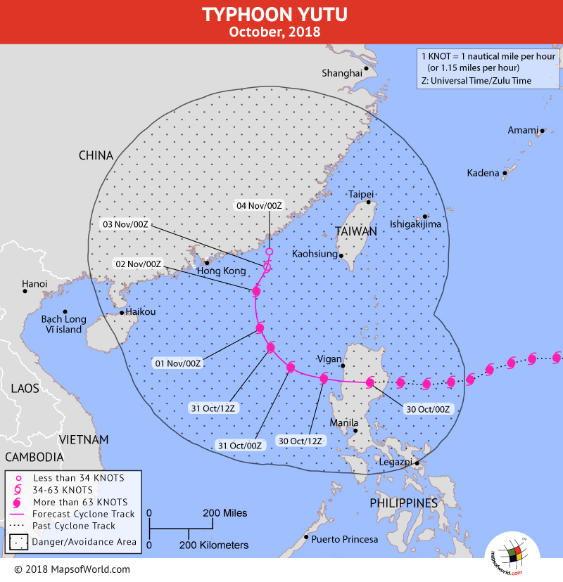 Typhoon Yutu Path Map on October 30, 2018