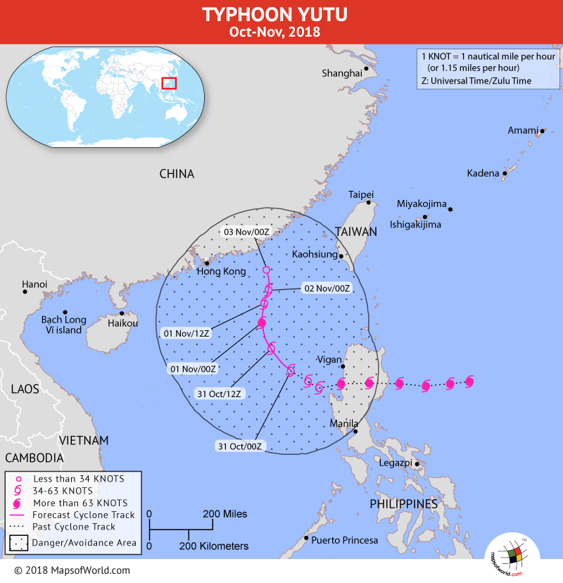 Typhoon Yutu Path Map on October 31, 2018