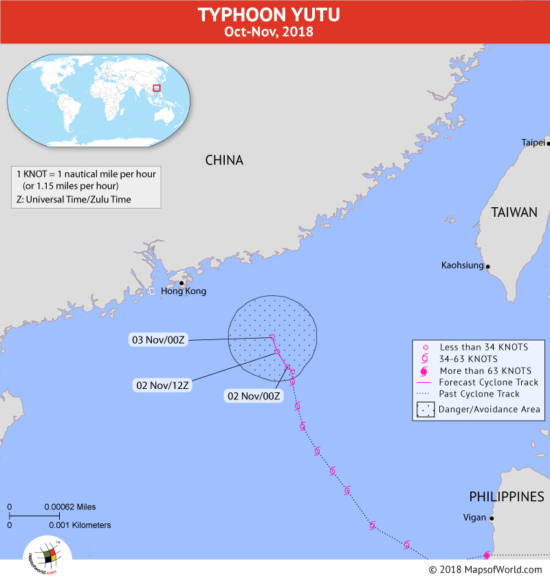 Typhoon Yutu Path Map on November 02, 2018