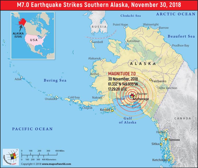 Alaska Earthquake Map Area Affected By Earthquake In Alaska