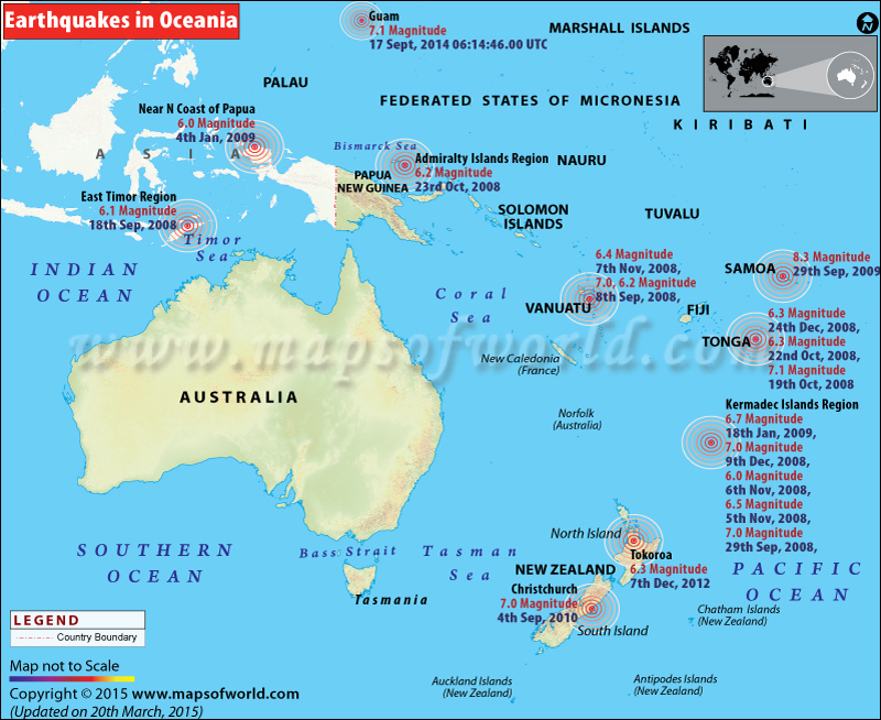 Earthquakes in Oceania Countries | Areas affected by Earthquakes in ...
