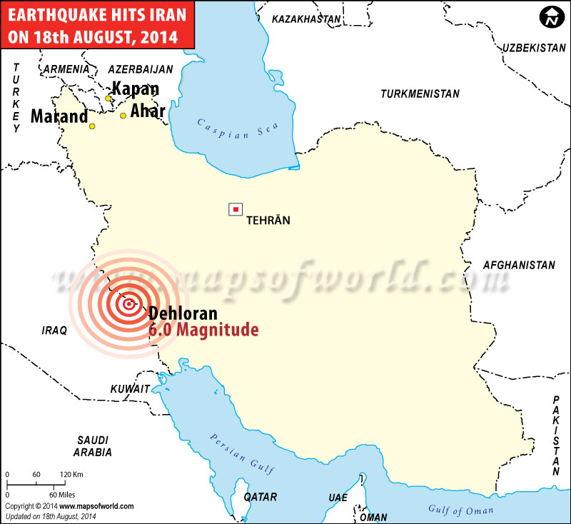 Map showing Recent Earthquake in Iran