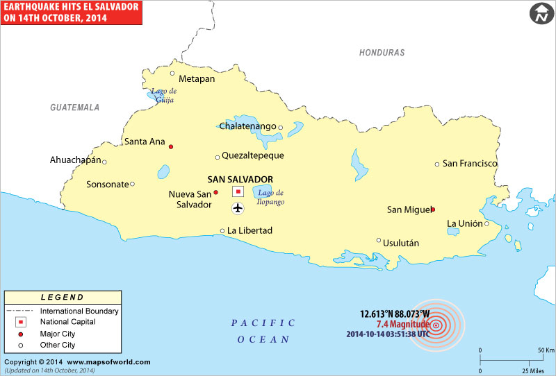Earthquake of Magnitude 7.3 hits the coast of El Salvador on Oct 14, 2014