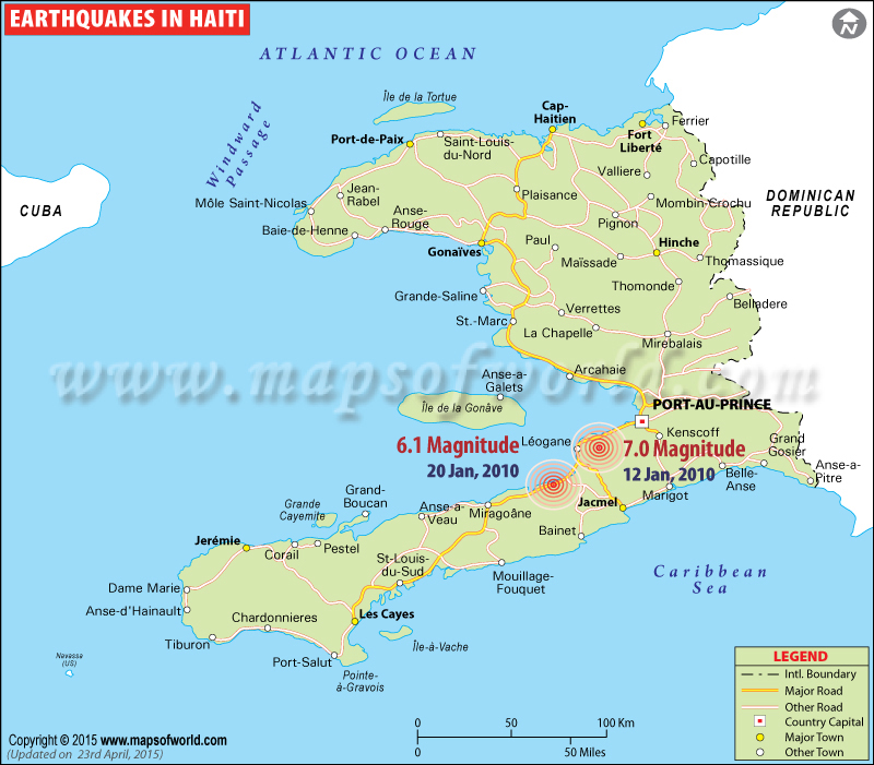 Earthquakes In Haiti Areas Affected By Earthquack In Haiti - Physical map of haiti